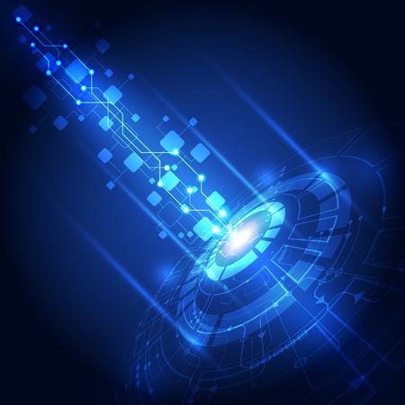 технология: вектор абстрактный технологии будущего, электрический фон Иллюстрация