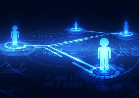 communication: résumé, vecteur, réseau social numérique technologie fond
