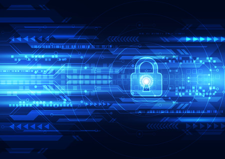 Abstract technology security on global network background, vector illustration Stock Illustratie