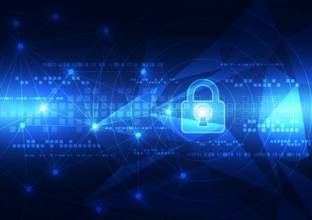seguridad social: Seguridad de la tecnología abstracto en fondo de la red global, ilustración vectorial