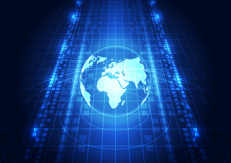 global network: abstract vector digital global network technology background