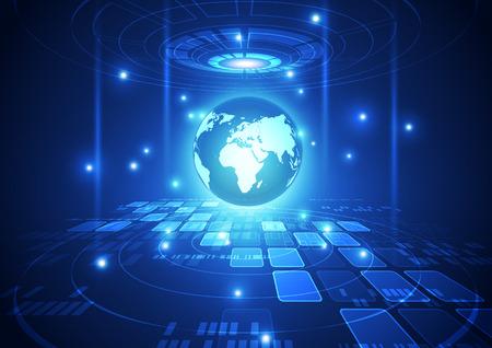 추상적 인 벡터 디지털 글로벌 네트워크 기술 배경 일러스트