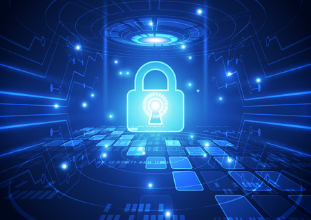 vulnerability: Abstract technology security on global network background, vector illustration Illustration