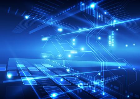 技术: 抽象矢量未來的技術背景插圖