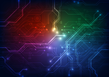printed: abstract circuit board technology vector background