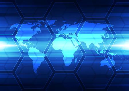 world globe: vector digital global technology, abstract background