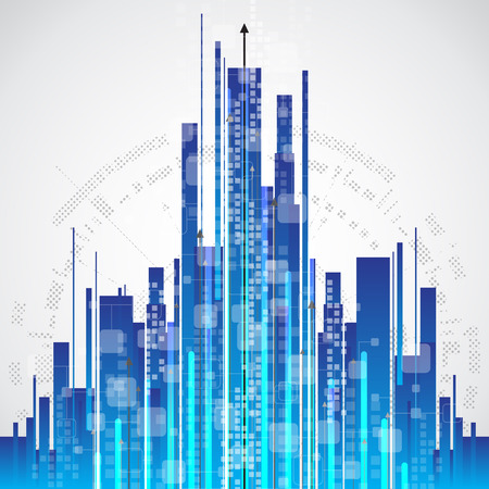 corporate building: Abstract city communication technology background, vector