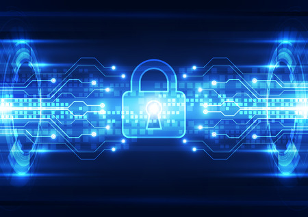 encryption: Abstract technology security on global network background, vector illustration Illustration