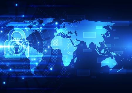 Abstract technology security on global network background, vector illustration 矢量图像