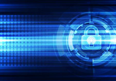 caja fuerte: Seguridad de la tecnología abstracto en fondo de la red global, ilustración vectorial