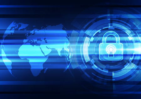 data theft: Abstract technology security on global network background, vector illustration Illustration