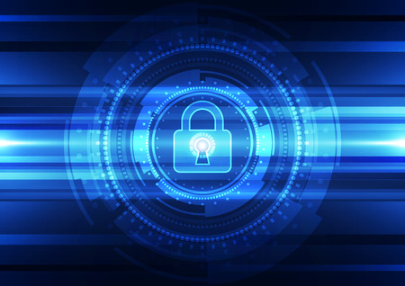 Abstract technology security on global network background, vector illustration Vectores