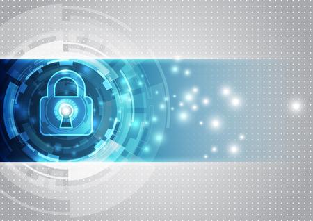 proteccion: Seguridad de la tecnología abstracto en fondo de la red global, ilustración vectorial