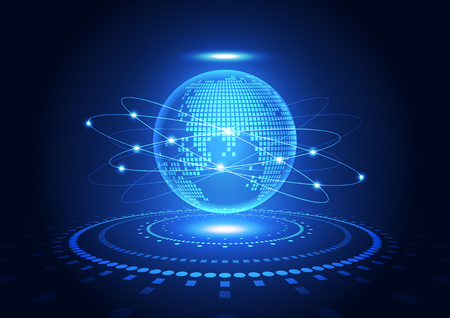 alrededor del mundo: vector de la tecnología digital global concepto, fondo abstracto Vectores