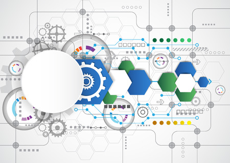Abstract technological background with various technological elements. illustration vector