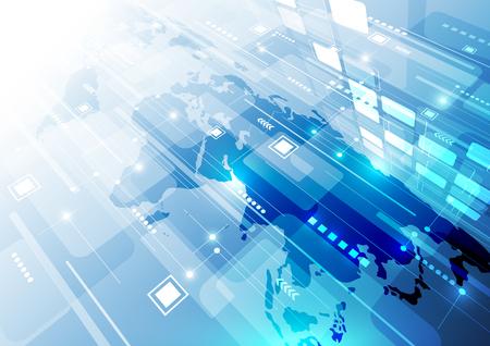 デジタル グローバル技術概念、抽象的な背景  イラスト・ベクター素材
