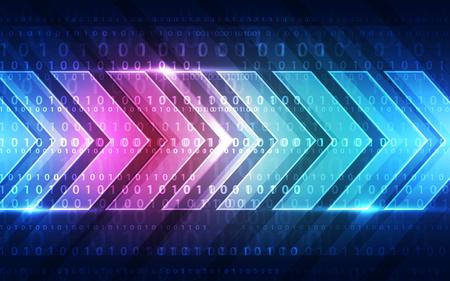 hacked: technology abstract digital background, vector illustration Illustration