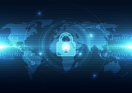 Seguridad de la tecnología abstracto en fondo de la red global, ilustración vectorial