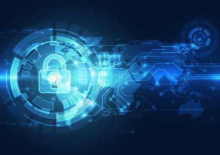 Abstracte technologie beveiliging op het wereldwijde netwerk achtergrond, vector illustratie