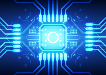 processor: Technology processor on circuit board vector background
