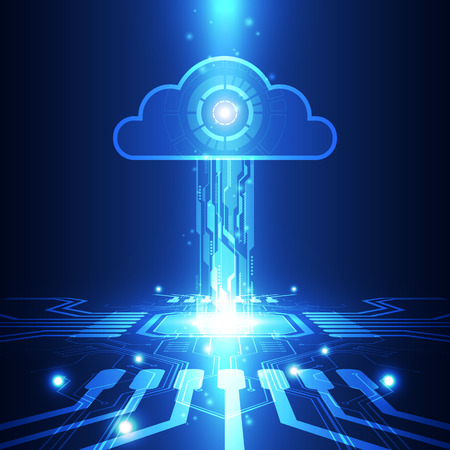 Abstract cloud technology in the future background