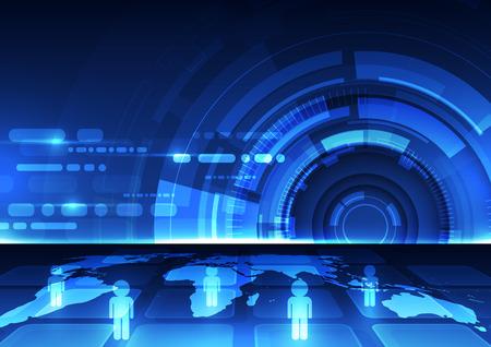 global communication: digital global communication technology concept, abstract background Illustration