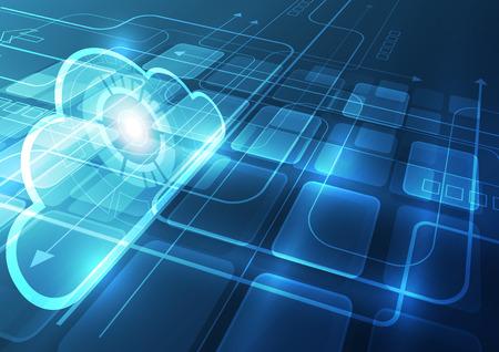 Fondo abstracto de la tecnología de la nube, ilustración del vector