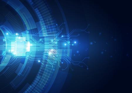 Tecnologia astratta sfondo blu. Illustrazione vettoriale.