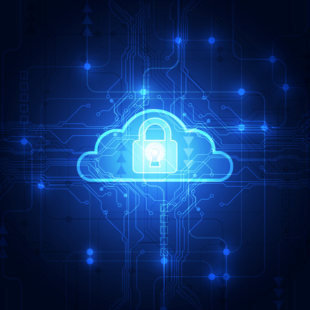 Abstract cloud technology in the future background, vector illustration Stock Illustratie