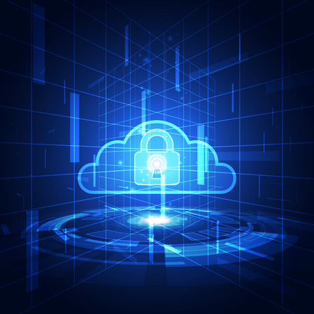 stealing data: Abstract security cloud technology background. Illustration Vector Illustration