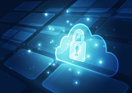 decryption: Abstract security cloud technology background. Illustration Vector Illustration