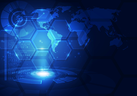 Vettore digitale globale tecnologia concetto, sfondo astratto