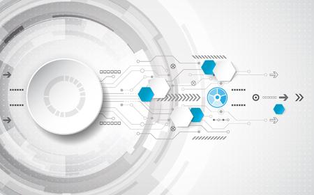 alto: Resumen concepto de fondo tecnológico con diversos elementos tecnológicos. ilustración del vector