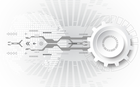 Résumé fond, concept technologique avec divers éléments technologiques. Vector illustration