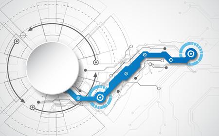 다양 한 기술 요소와 추상적 인 기술적 배경 개념. 일러스트 레이션 벡터 일러스트
