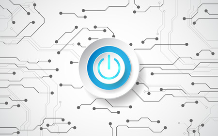 electric line: Abstract digital technology power button. vector background