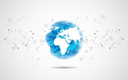 Vector digital global technology concept, abstract background Ilustração Vetorial