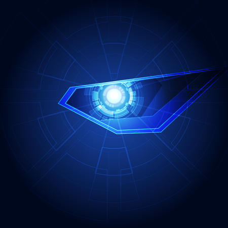 Eye robot cyber security in the future technology concept background, vector illustration Vettoriali