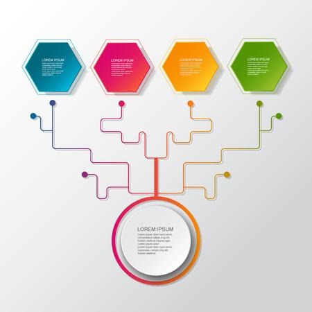 Vector árbol de negocios de infografía con etiqueta de papel 3D, círculos integrados. Espacio en blanco para el contenido, negocios, infografía, diagrama. Fondo de color gris claro. Concepto de tecnología de conexión de redes sociales