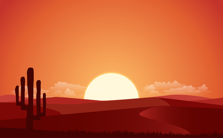 Vector flat landscape view with the night of desert. Illustration with the sunset view in the desert. or the website background