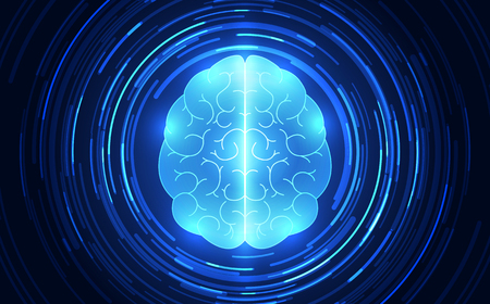 Vector abstract human brain on technology background represent artificial intelligence concept, illustration Illustration