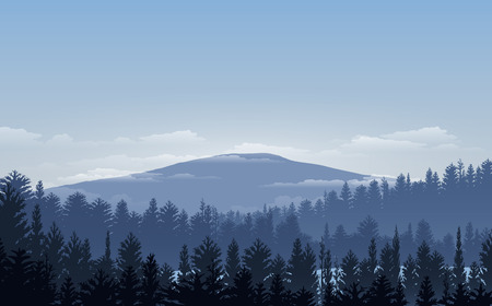Vector illustration, Landscape view with sunset, sunrise, the sky, clouds,  mountain peaks, and forest. for the website background Illustration
