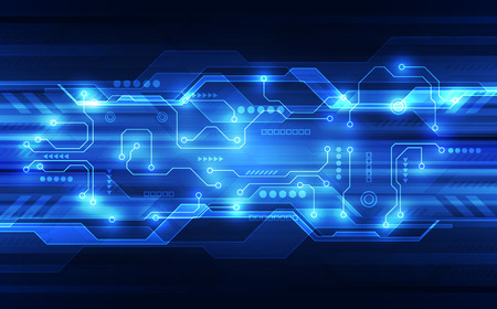 Vector abstract futuristic circuit board, high digital technology in blue. Imagens - 94252452