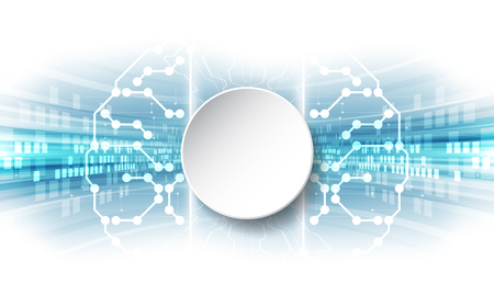 Vector Abstract human brain futuristic circuit board, Illustration high digital technology blue color