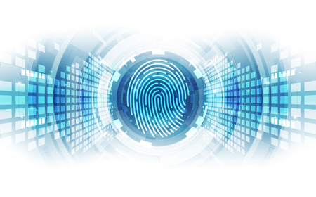 Fingerprint integrated in a printed circuit, releasing binary codes. fingerprint Scanning Identification System. Biometric Authorization and Business Security Concept. Vector illustration background Illustration