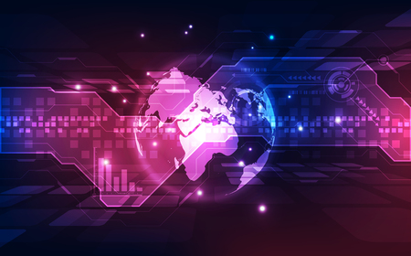 Abstract digital technology connection on Earth concept background, vector illustration