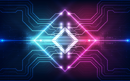 Abstract technology chip processor background circuit board and code, illustration blue technology background vector.  イラスト・ベクター素材