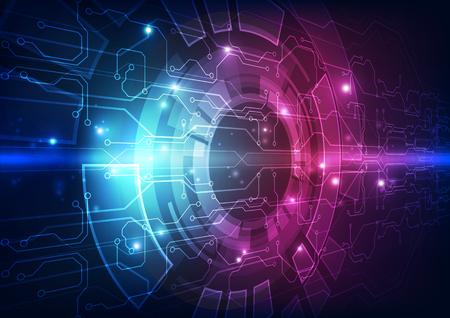 Vector abstracto placa de circuito futurista, ilustración de alta tecnología digital color azul Ilustración de vector