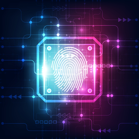 Fingerprint integrated in a printed circuit, releasing binary codes. fingerprint Scanning Identification System Security Concept. Vector illustration background