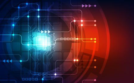Abstrakte Technologie-Chip-Prozessor-Hintergrund-Leiterplatte und Code, blauer Technologie-Hintergrundvektor der Illustration. Vektorgrafik